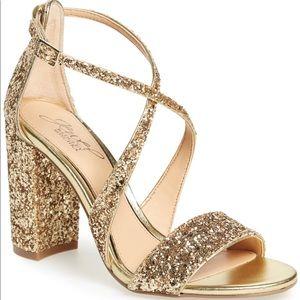 Jewel Badgley Mischka Block Heel Glitter Sandal